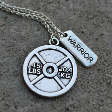 45LBS WEIGHT PLATE + WARRIOR Tag Charm Pendant Necklace * Fitness Crossfit Bodyb