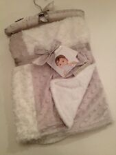 Blankets And & Beyond Baby Boy Girl Blanket Grey White Rosette Minky Dot Popcorn