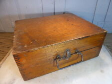 Antique wooden box with partition and brass handle