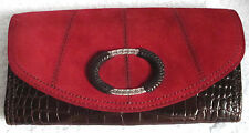 Brighton Brown Croc Leather Red Suede Multi-Comp Organizer Clutch Bag