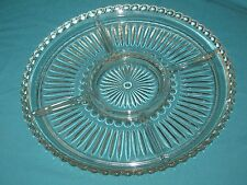 "Vintage Clear Glass Divided Relish Dish Platter Plate13.5"" Party Tray #DH12"