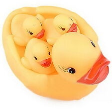 Yellow Natural Rubber  Baby  Kids Bathing Needed Toys Race Squeaky  Four Ducks