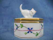 Vintage Herend Hungary hand painted porcelain cat top box blue garland pattern