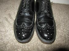 Vintage Bostonian V Cleat Black Wing Tips Brogues Shoes Men's 9