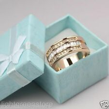 Mens 9K Yellow Gold Filled Clear Zircon Wedding Rings SZ10  Free Shipping