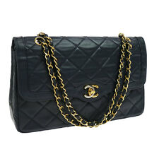 Auth CHANEL Quilted CC Double Flap Chain Shoulder Bag Navy Leather VTG AK10855