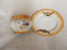VINTAGE VERY PRETTY BLUSH POT WITH SMALL SIDE PLATE  ME BAVARIA FLOWER & FRUIT