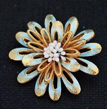 Vintage Signed FLORENZA Goldtone Blue Enamel FLOWER Shape Pin Brooch