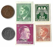 Rare Old WWII WW2 Nazi Swastika Coin Stamp Hitler Complete War SS Collection Lot