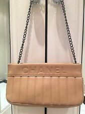 Chanel Chevron Beige Chain Bag