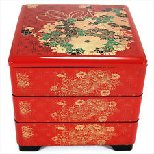 Japanese Lacquer Stack Candy Lunch Bento Box 3-Tiers Red Flowers, Made in Japan