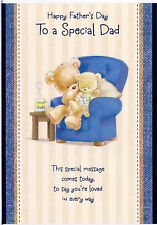 Happy Father's Day. To A Special Dad Card. Teddies On A Chair Reading A Story.