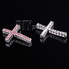 Various Side Ways Metal Crystal Rhinestones Cross Charm Bracelet Connector Beads