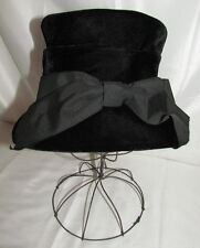 Vtg Black Velvet Top Hat Women's 1920s 30s 40s Small Medium Bow Cloche Dressy