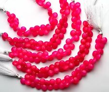 "Faceted Pink Chalcedony 11MM Approx. Heart Shape Briolette Beads 8"" Strand"