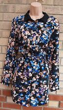 PRIMARK BLACK BLUE PEACH BROWN FLORAL HALF BUTTONED PLAYSUIT ALL IN ONE 16 XL