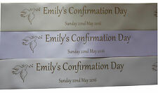 Luxury polyester personalised CONFIRMATION ribbon 45mm width assorted colours
