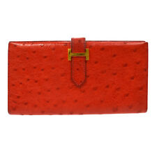 Authentic HERMES Vintage H Logos Beant Wallet Purse Red Ostrich Leather RK11591
