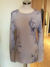 Olsen Sweater Size 12 BNWT Beige Blue Mushroom Floral Ribbed RRP £89 NOW £40