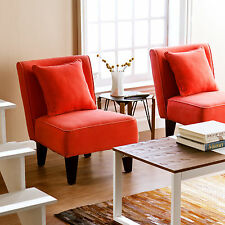 CAC71901 PAIR OF RED ORANGE ACCENT CHAIRS 2PCS SET