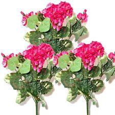 3 artificial 36cm Geranio arbustos Con Flores De Color Rosa-Decorativos Plantas De Plástico
