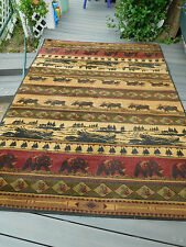 "Large Lodge Cabin Bear Moose Canoe Area Rug~KODIAK ISLAND~ 5'3"" x 7'6""~FREE SHIP"