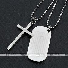 2x Stainless Steel Cross English Lord Prayer Army Dog Tag Pendant Chain Necklace