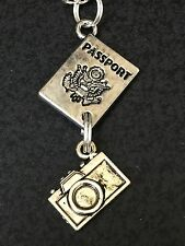 "Passport & Camera Charm Tibetan Silver with 18"" Necklace BIN"