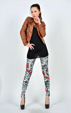 SPECIAL SALE BIN $6.99 UNUSUAL WOMENS BLACK AND RED PRINTED SEXY LEGGINGS