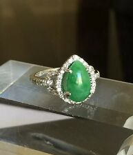 Green Jade And VS Diamonds In 18k Solid Gold Ring