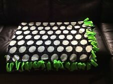 "black Hand tied Volleyball Sport Fleece Blanket green backing 68""x55"" 2 layers"