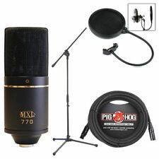 MXL 770 Professional Studio Condenser Mic Recording Bundle w/ Stand Cable Filter