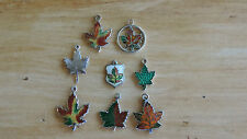 Vintage Sterling Silver Enamel Canada Maple Leaf Niagara Falls Charm Lot of 8