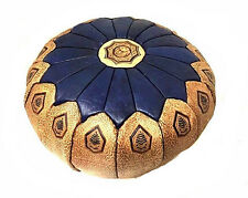 Moroccan 100% Leather Hassack Round Ottoman Pouf Seat in Blue & Tan Large Poof