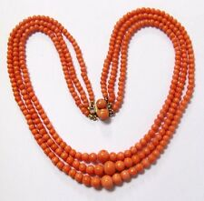 VINTAGE VICTORIAN NATURAL SALMON CORAL 3 STAND BEADED NECKLACE CHOKER 14K CLASP