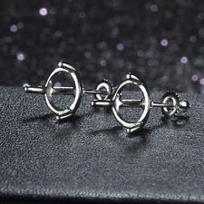 Engagement Earring Prong Setting Round 6mm Sterling Silver 925 Plate White Gold