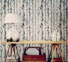 Wallpops Country Chic Birch Tree Peel and Stick Black Grey White NU Wallpaper