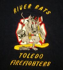 TOLEDO FIRE & RESCUE logo River Rats tee XL embroidery T shirt Ohio sewn