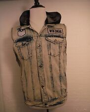 Sleeping With Sirens Band Feel Mens Denim Blue Jean Vest Detachable Hoodie Large