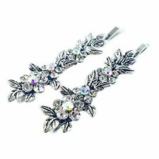 USA Vintage Bobby Pin Rhinestone Crystal Hair Clip Hairpin Jeweled Flower Silver
