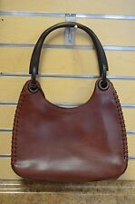*Gucci 106237 Whipstitch Brown Leather Hobo Purse Handbag Authentic