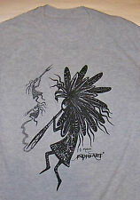 TRIBAL ART / OUTSIDER DESIGN HIPPIE HIPPY DOPE PRIMITIVE / WHITE T-SHIRT SIZE M