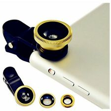 3 in1 Fisheye+Wide Angle+Macro Photo Lens Clip Mobile Phone Camera Set Kit-Gold