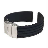 HOT Silicone Rubber Watch Strap Band Deployment Buckle Waterproof 18 20 22 24mm