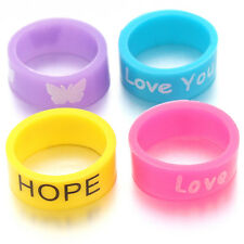 50pcs Hot Selling Multicolor Letters Printed Silicone Rings Costume Jewellery LC