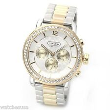 Coach Gold Crystals Bezel Signature Dial Chrono Sport  Duo-tone Watch 14501649