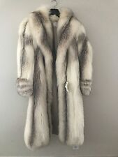 BEAUTIFUL WOMEN'S VINTAGE WHITE FOX, WITH SILVER, FUR COAT, SMALL - MEIDUM