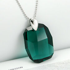 Emerald Green 925 Silver Necklace  Large Crystal made with Swarovski Elements