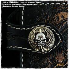 Boka Wing Skull Fleur De Lis Sterling Silver Brass Concho Snap Coin Biker Wallet