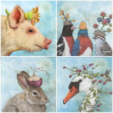 4x Single Table Party Paper Napkins for Decoupage Decopatch Animals Festival